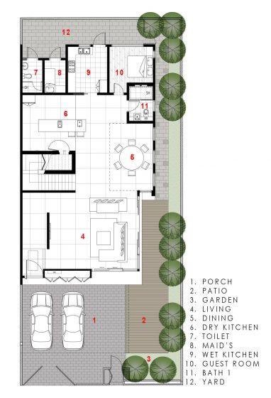 Plano de casa moderna - primer piso