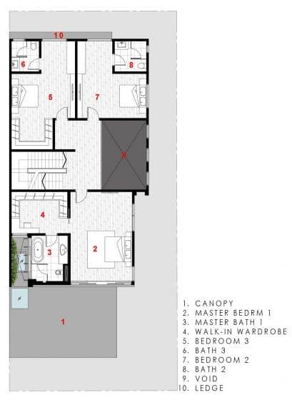 Plano de casa moderna de tres pisos - segundo piso