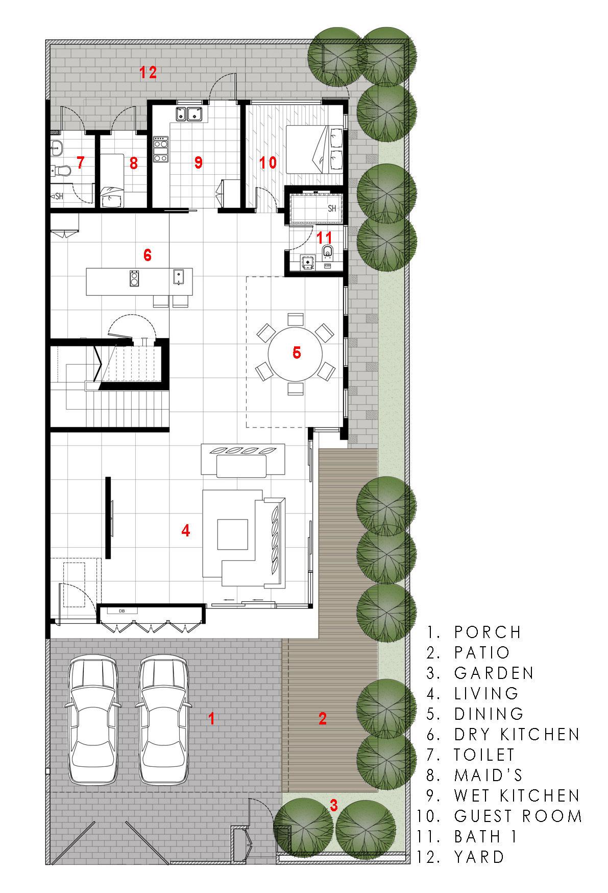 Dise o casa moderna tres pisos for Planos de casas con patio interior