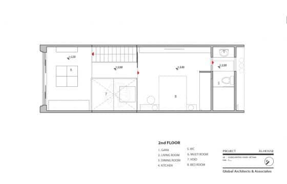 Plano de casa muy pequeña 2 piso