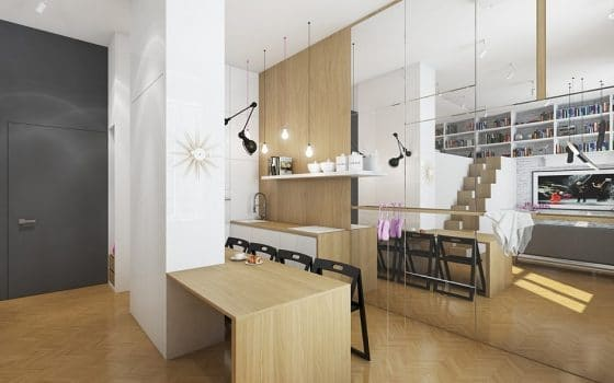 Diseño de interiores de moderno departamento pequeño