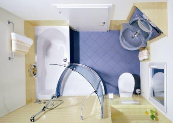 Distribución de cuarto de baño pequeño