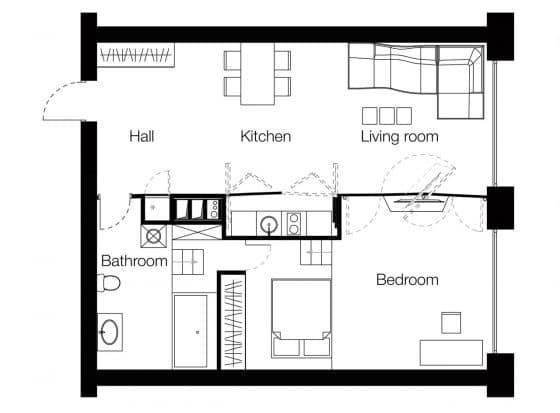 Plano de departamento dos dormitorios