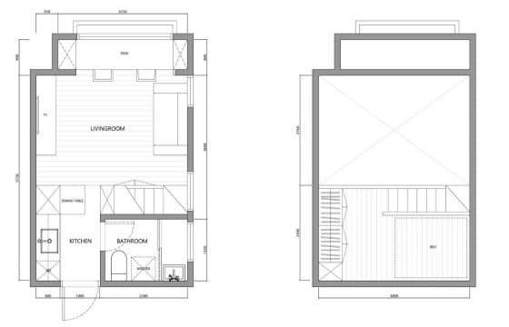 Plano de departamento pequeño 22 m² 002