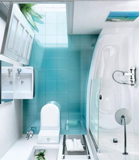 Vista de planta de cuarto de baño pequeño