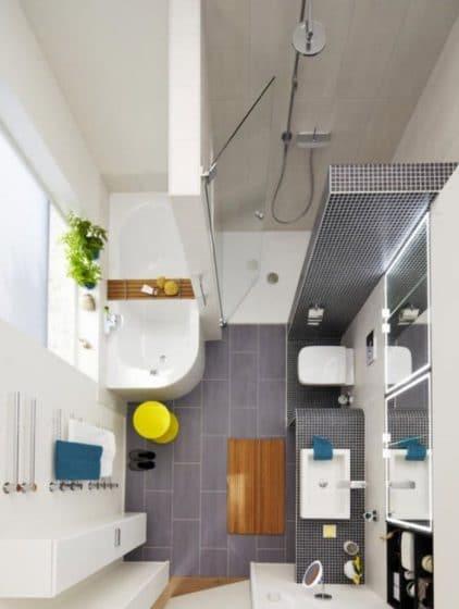 Distribución de sanitarios de baño pequeño
