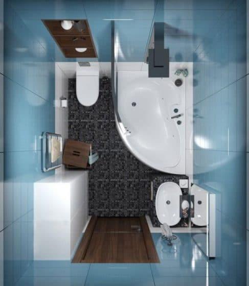Vista de planta de cuarto de baño con tina y ducha