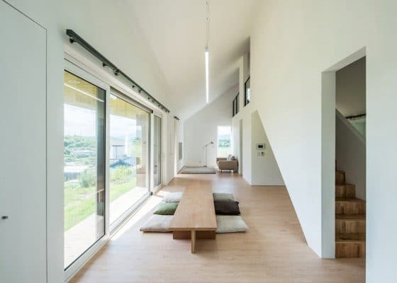 Diseño de sala - comedor moderna de campo