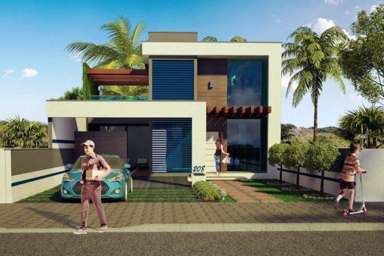 Diseño moderna casa de dos pisos