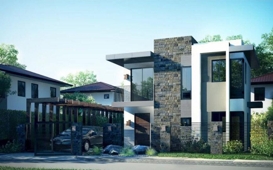 Dise o casa moderna de dos pisos peque a for Fachadas modernas para casas de tres pisos