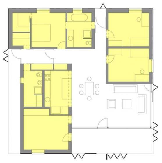 Plano casa un piso y tres dormitorios