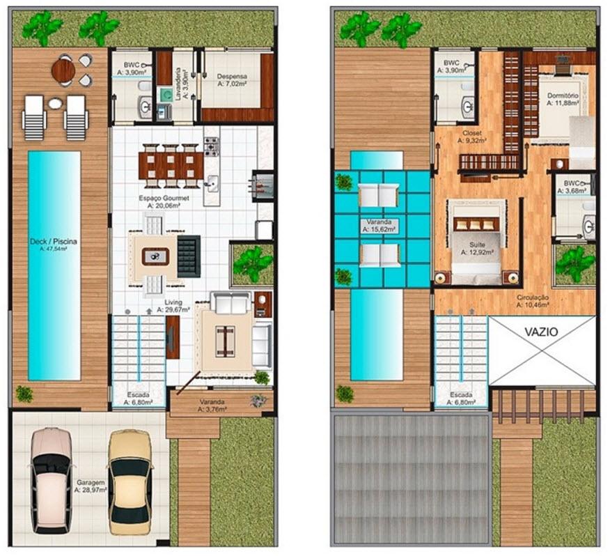 Dise o casa moderna de dos pisos planos construye hogar for Casa moderna 90m2