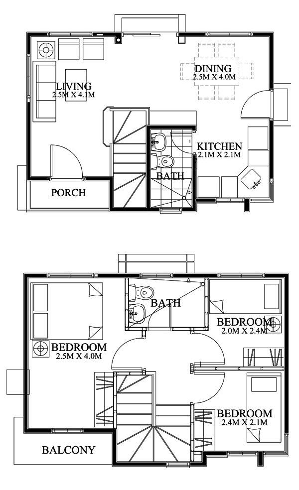 Dise o casa moderna de dos pisos peque a for Ver planos de casas de una planta