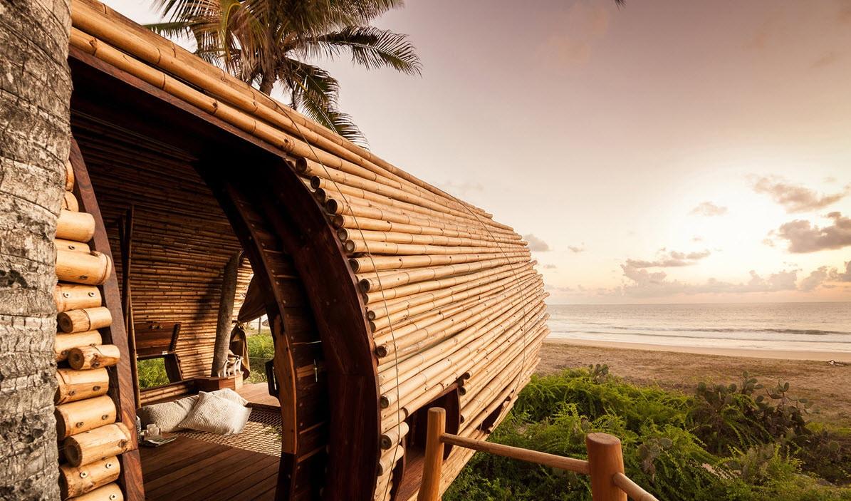 Dise o de caba a de playa de bamb y madera for Disenos de cabanas