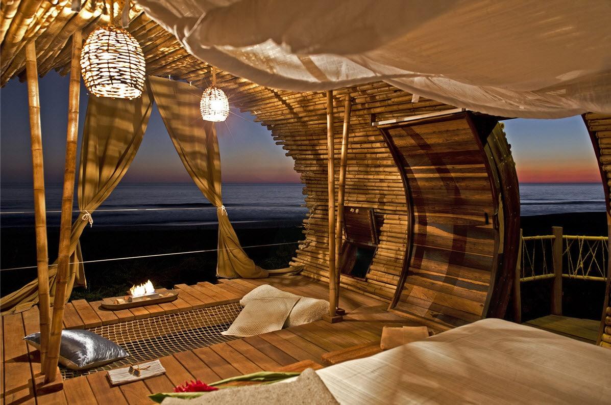 Dise o de caba a de playa de bamb y madera for Decoracion de interiores de la escuela