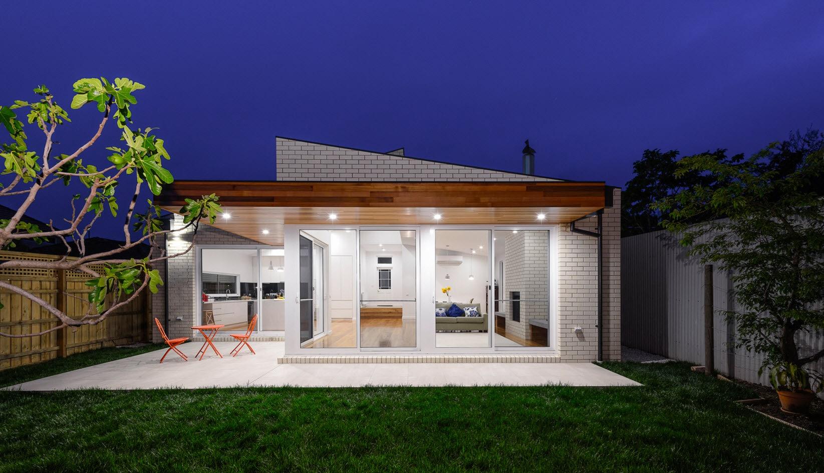 Dise o de casa moderna de un piso planos y fachadas for Plano casa un piso