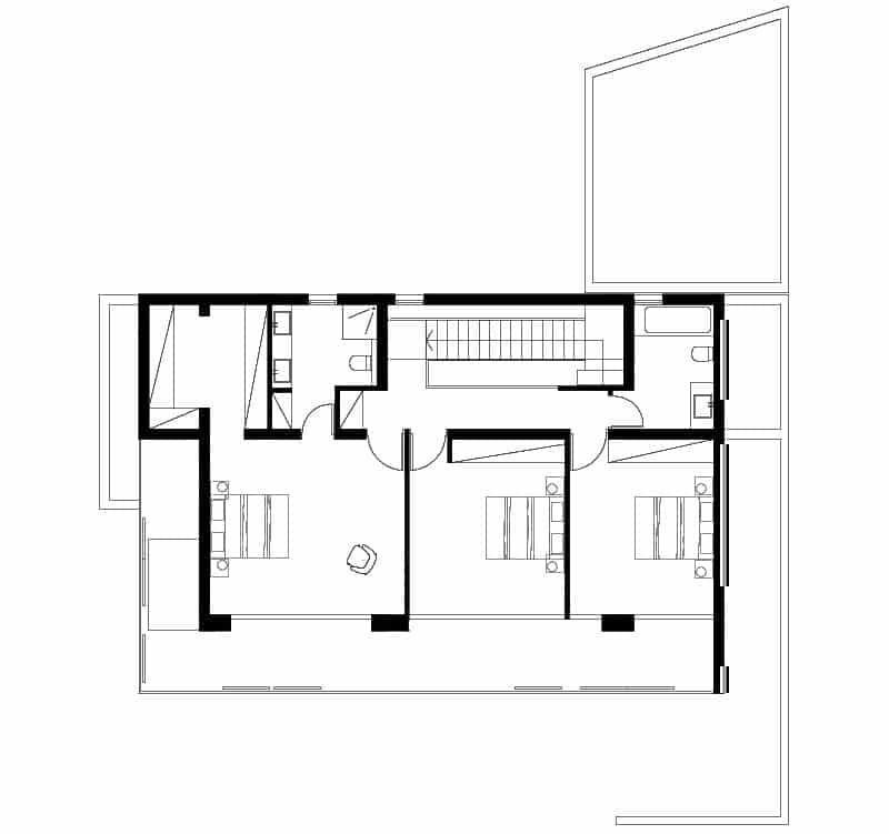 Casa Moderna De Dos Pisos Tres Dormitorios