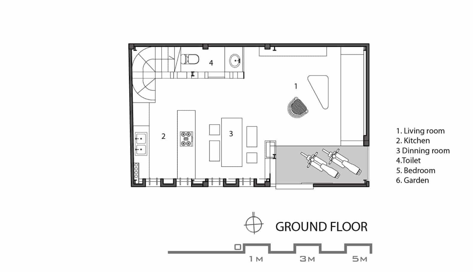 Casa econ mica moderna de 50 metros cuadrados construye for Plano de pieza cocina y bano