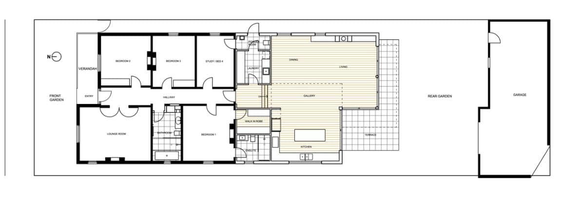 Dise o de casa moderna de un piso planos y fachadas for Planos para casas de un piso