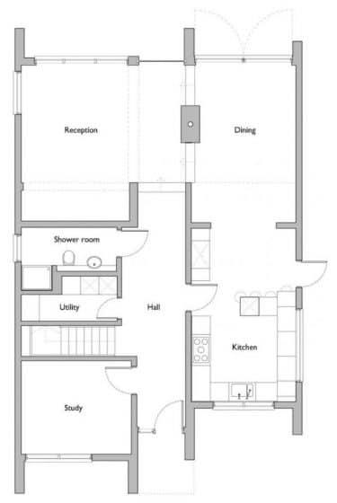 plano-casa-dos-pisos-moderna