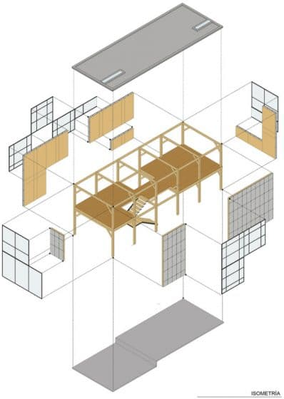 Plano de casa estructura aporticada portico