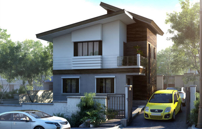 Planos peque a casa de dos pisos 42 metros cuadrados for Fachadas de casas modernas pequenas de 2 pisos