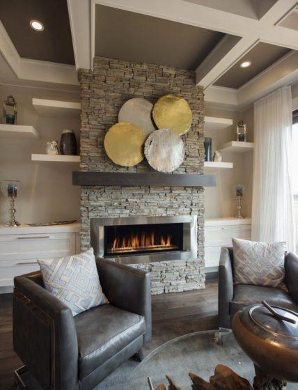 Diseño de chimenea de piedra