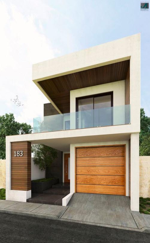 Fachadas de casas modernas de dos pisos for Planos para casas de dos pisos modernas