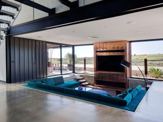 Diseño sala moderna nivel bajo piso