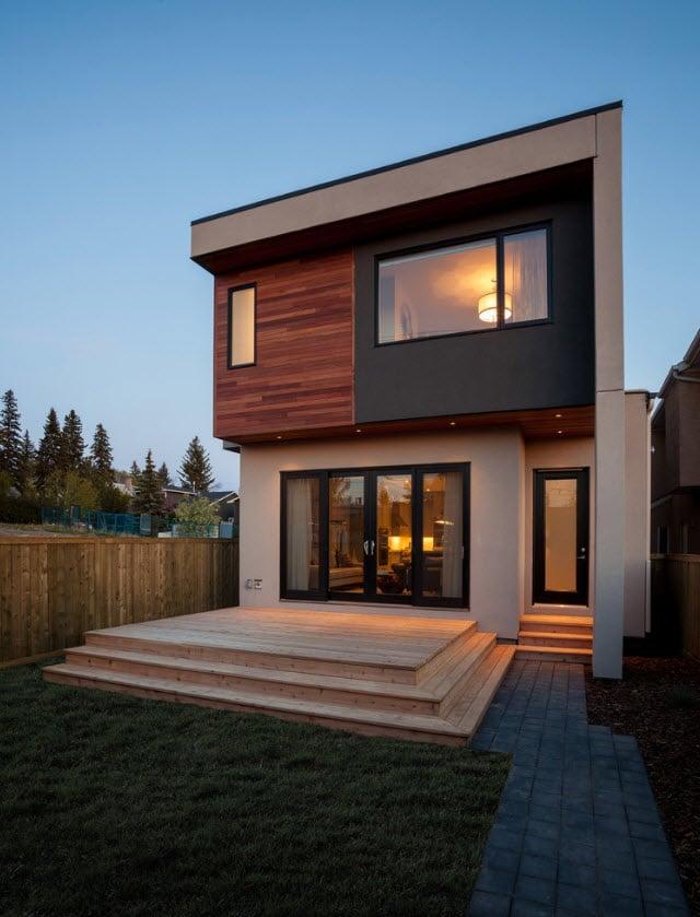 fachada posterior casa dos pisos moderna - Fachadas Modernas De Casas