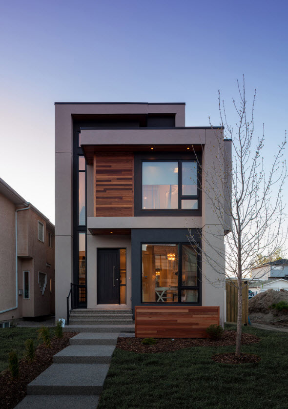 fachada principal casa moderna 2 pisos - Fachadas Modernas De Casas