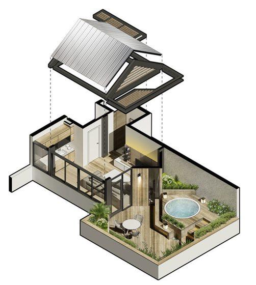 Plano 3D diseño de terraza en azotea