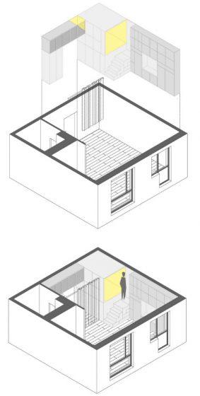 Plano 3D de estantería de departamento pequeño