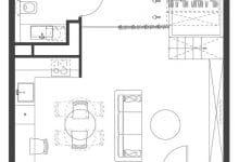 Photo of Departamento pequeño de 35 metros cuadrados, interesante idea utilizando módulos para generar ambientes interiores