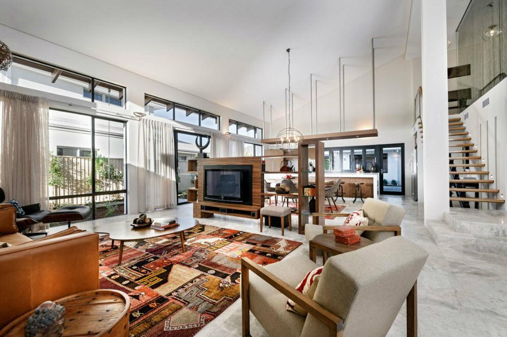 Dise o de fachada e interiores casa un piso for Ejemplo de sala comedor