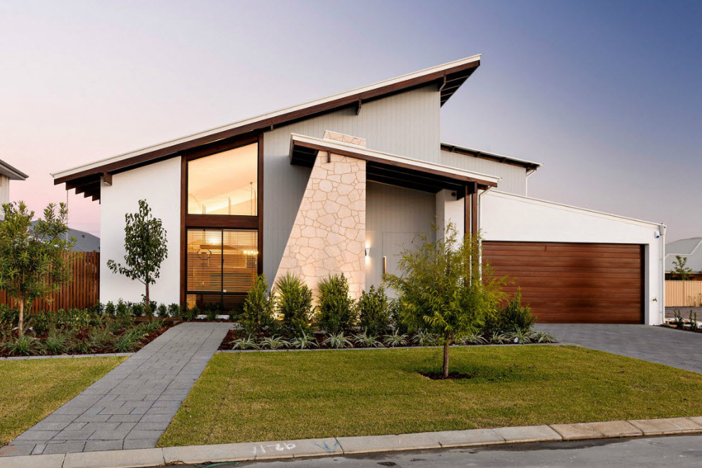 Dise o de fachada e interiores casa un piso construye hogar - Casas modulares de diseno moderno ...