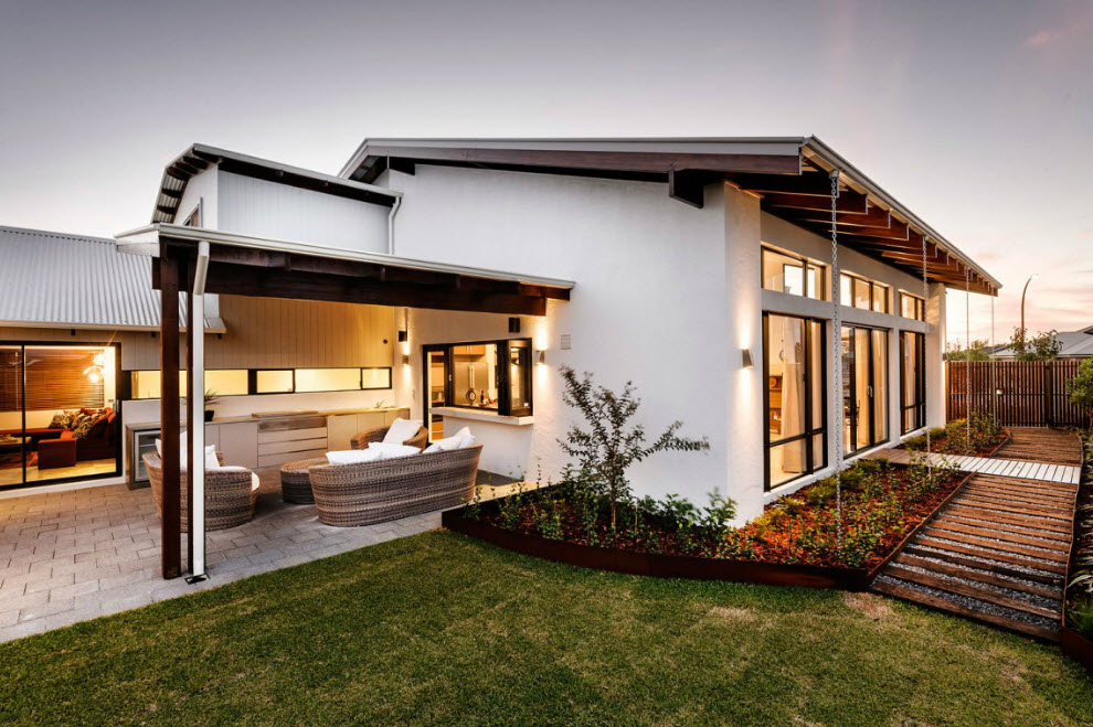 Dise o de fachada e interiores casa un piso for Fachada de casa moderna de un piso