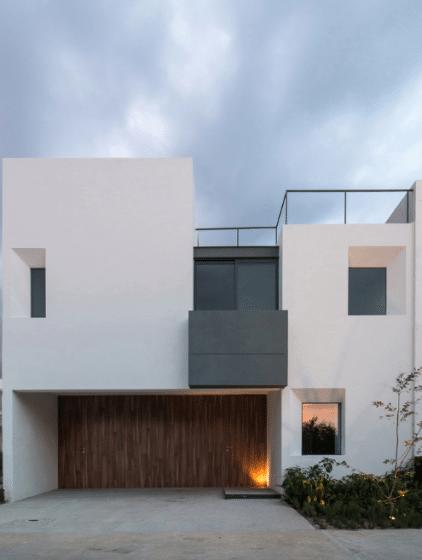 Diseño fachada moderna casa dos pisos