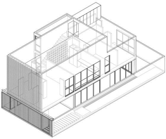 Plano perspectiva 3D casa dos pisos
