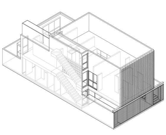 Plano 3D casa de dos pisos A