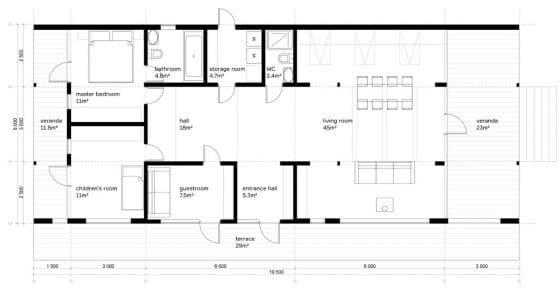 Plano de casa de campo de 185 metros cuadrados