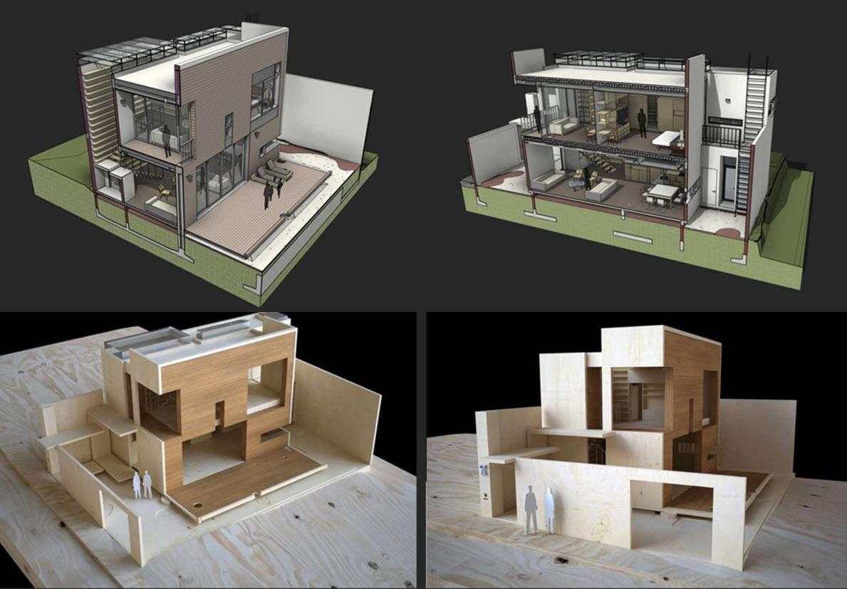 Planos peque a casa dos pisos construye hogar for Maquetas de apartamentos modernos