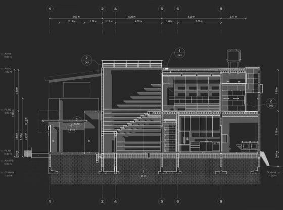 Plano de corte casa pequeña dos pisos