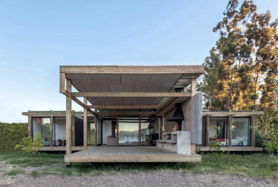 Diseño terraza cubierta casa campo