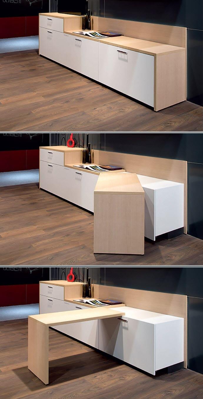 Mueble de cocina con barra movil