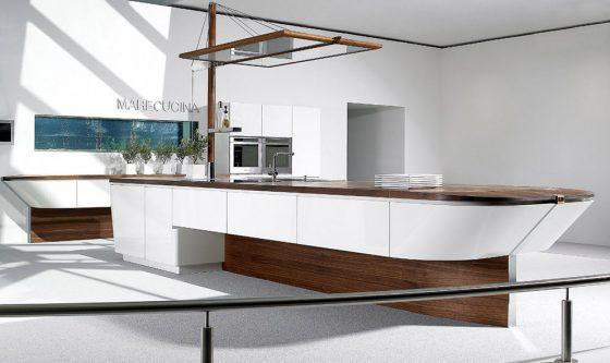 Diseño de cocina con isla barco