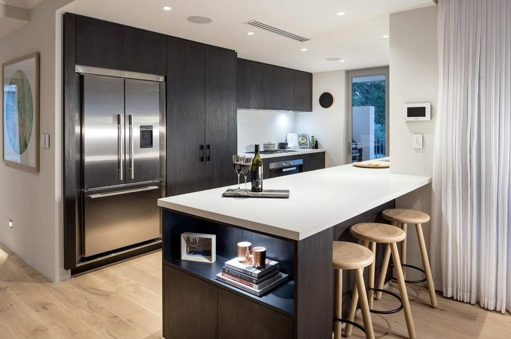 Dise o casa moderna dos pisos planos y fachadas for Planos de cocinas modernas