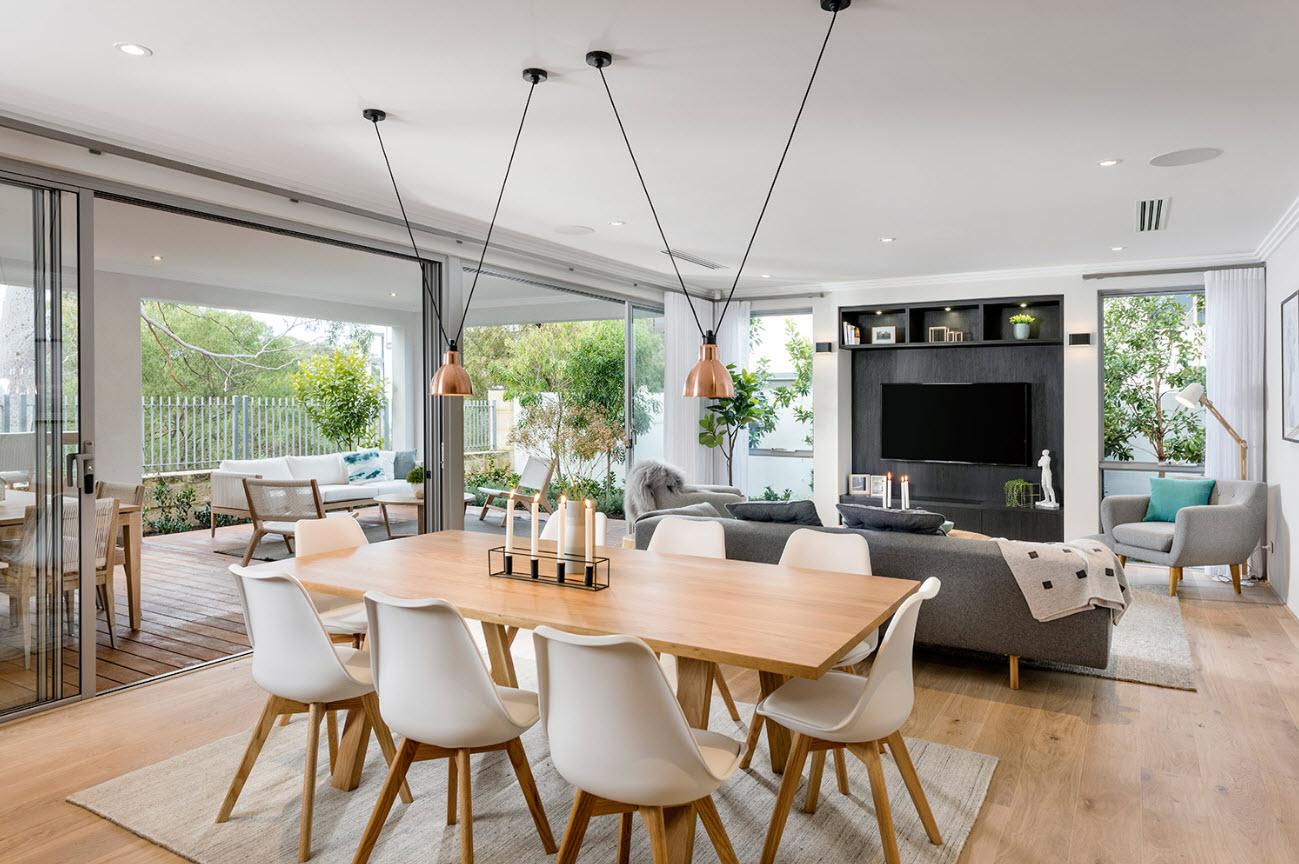 Dise o casa moderna dos pisos planos y fachadas for Diseno de interiores sala de estar comedor