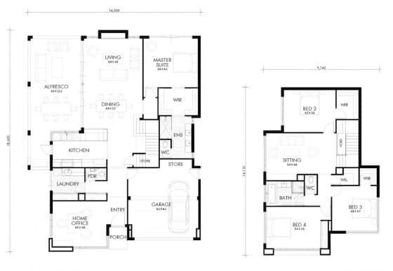 Planos casa dos pisos cuatro dormitorios