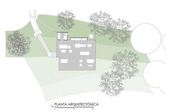 Plano de planta casa en la colina